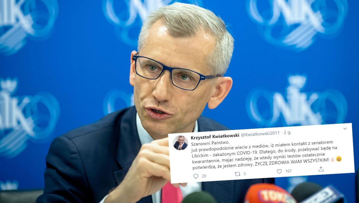 Były szef NIK, senator Krzysztof Kwiatkowski z powodu swoich kantaktów z Janem Filipem Libickim odbędzie kwarantannę (fot. arch.PAP/Tytus Żmijewski)