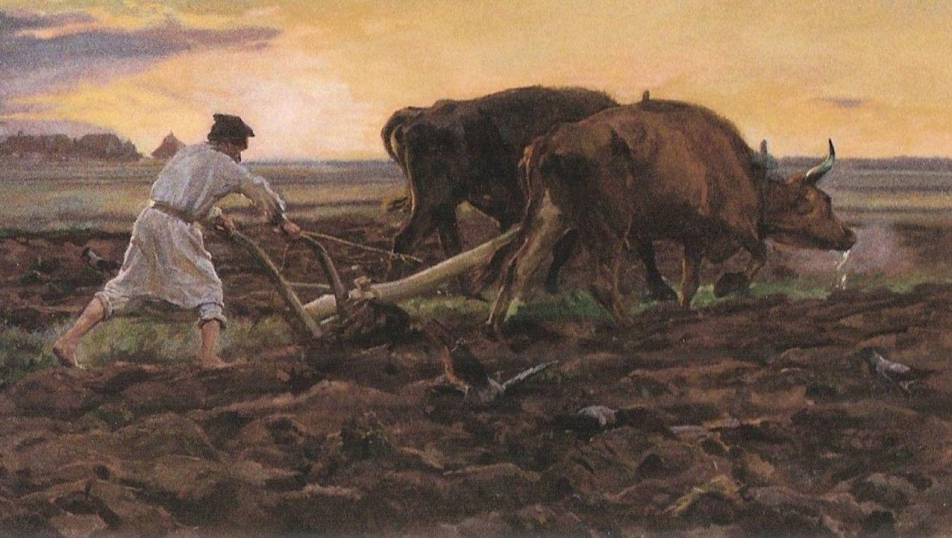 """Obraz """"Orka"""" pędzla Józefa Chełmońskiego herbu Prawdzic. Fot. Wikimedia"""