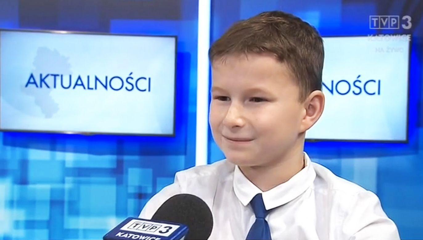 Ośmiolatek stanął przed kamerami (fot. TVP3 Katowice)