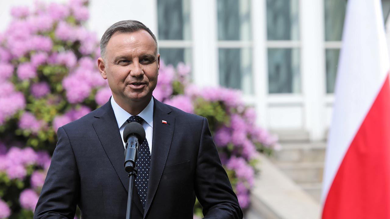 Andrzej Duda złożył życzenia Piotrowi Fronczewskiemu (fot. PAP/Wojciech Olkuśnik)
