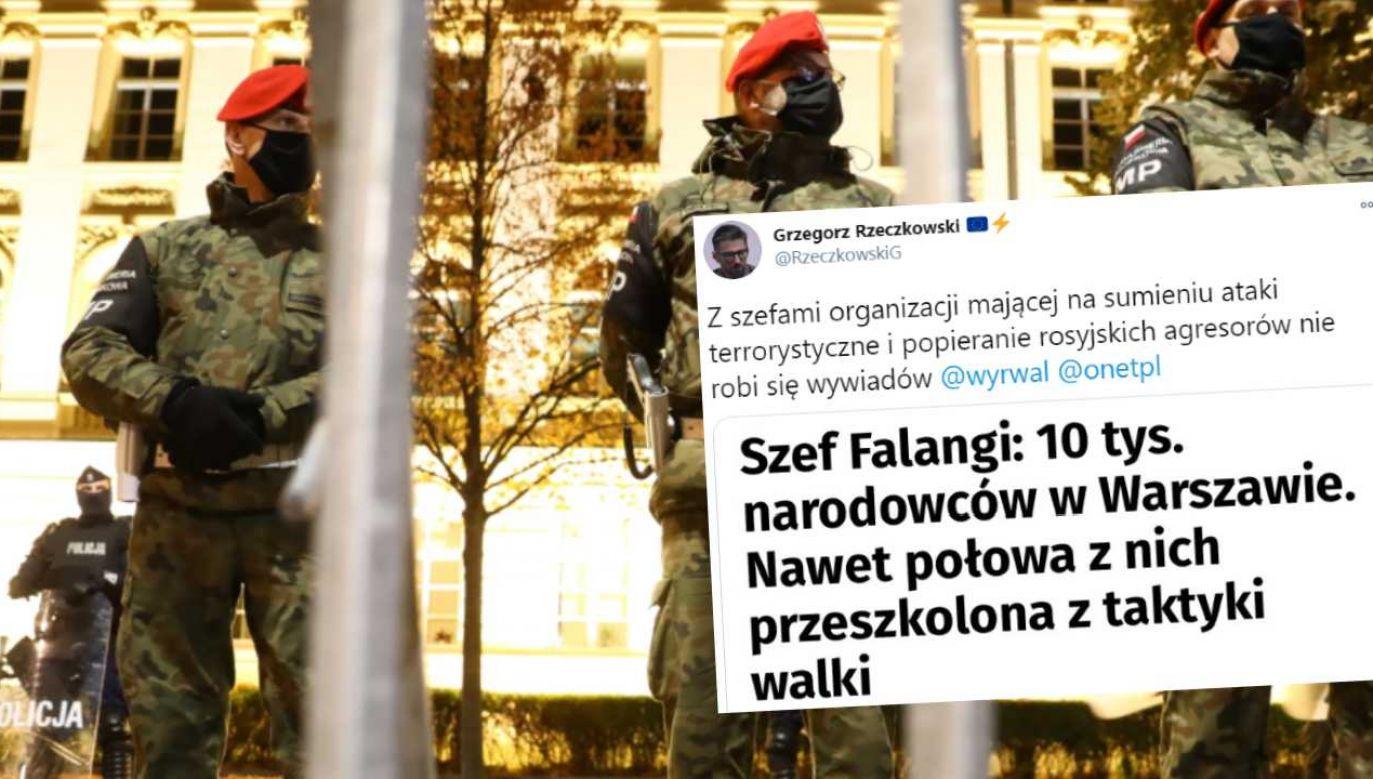 Lider Falangi opowiadał o mobilizacji środowisk narodowych (fot. PAP/Rafał Guz)