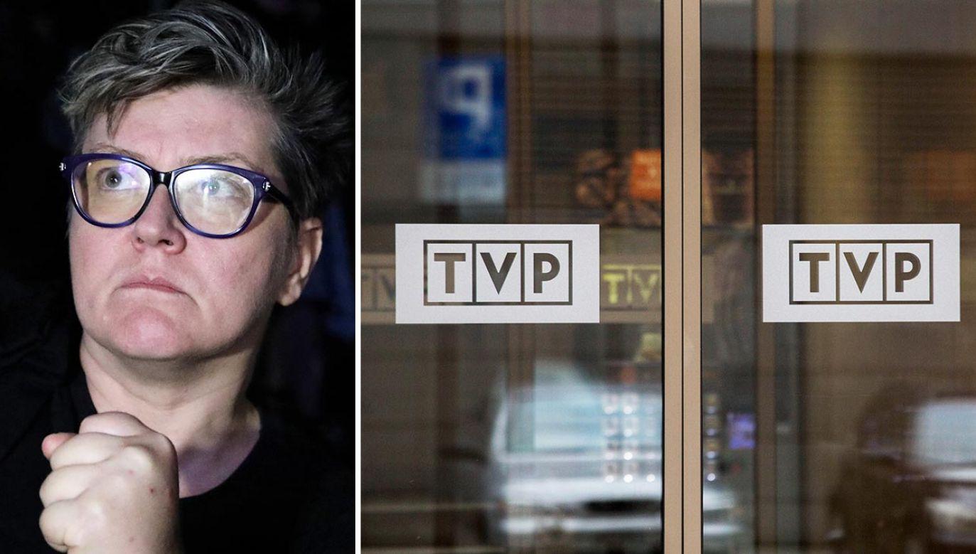 Elżbieta Podleśna to jedna z kobiet, które wtargnęły do siedziby TVP (fot. PAP/Tomasz Gzell; Shutterstock/ Pawel Bednarz)