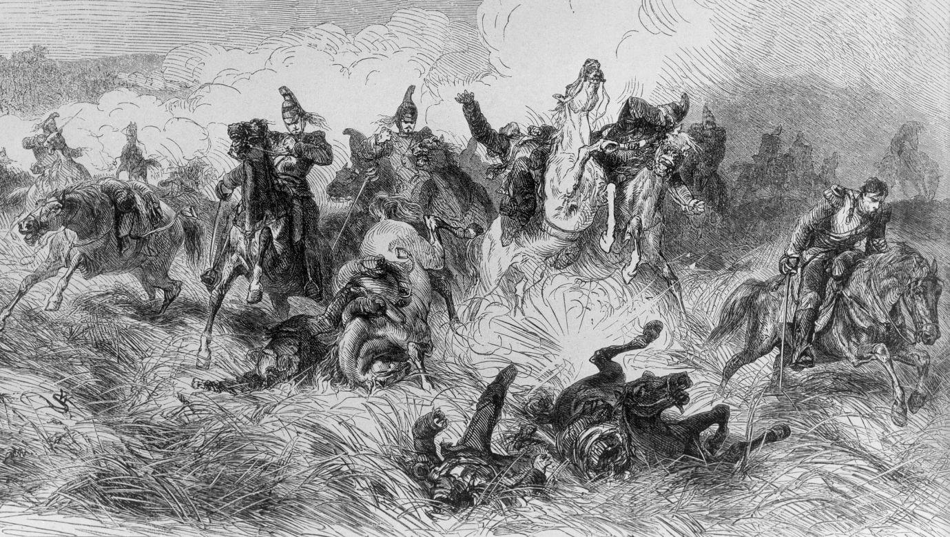Bitwa pod Froschwiller-Woerth w Alzacji, odrzucenie ataku francuskich kirasjerów na rysunku Simmlera z 1870 roku. Fot. ullstein bild/ullstein bild via Getty Images
