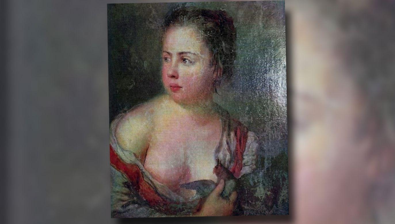 """Fragment obrazu """"Dziewczyna z Gołębiem"""" autorstwa Antoine'a Pesne'a z 1754 roku"""